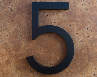 Modern House Number Aluminum Modern Font Number FIVE  5 in Black