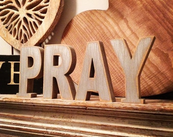 Wooden Letters - Free-standing - Ariel Font - 10cm - PRAY, various colours and finishes available