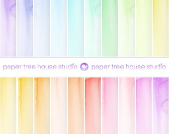 Digital Papers - 20 Ombre Watercolor Painted Papers - DIY Printable Files - Twenty 8.5 x 11 and 12 x 12 inch JPG Files - ID 1092