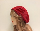 Wool Crochet Beret Hat - BRIGHT RED