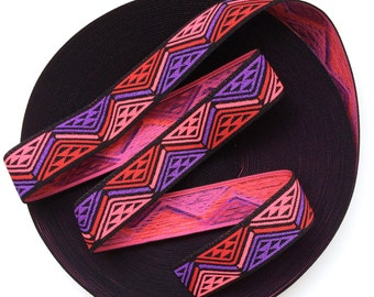 "2"" Multi-Coloured Black Base Aztec Print Stretch Elastic Band"