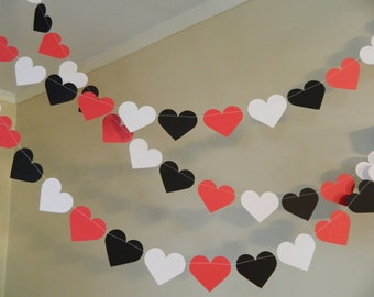 Red Black and White Wedding Decorations / 10 foot Heart garland / Red Black White Bridal Shower Decorations / your color and size choice