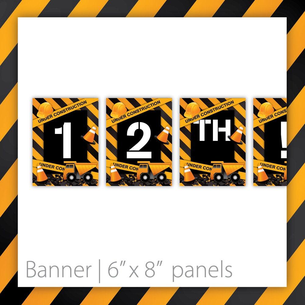 Construction Birthday Banner Black . By BlackCherryPrintable