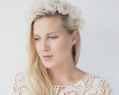 Flower halo / Bridal crown / Organza flower halo / Bohemian bridal halo / Satin ribbons / Bridal headband