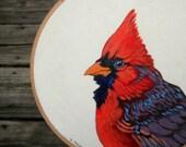 Cardinal Bird Hoop Art - Original Acrylic Painting on an Embroidery Hoop - Made to Order