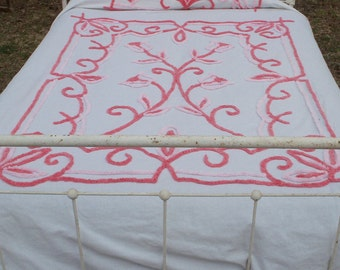 Chenille Bed Spread Pink & White Dreamy Girl Cottage Chic Summer Find Early Example by AntiquesandVaria