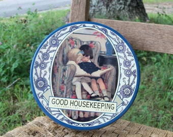 Tin Good Housekeeping 1921 Tinware Repro Holiday Goodies Gift Box Children Literacy Print Collectible Find