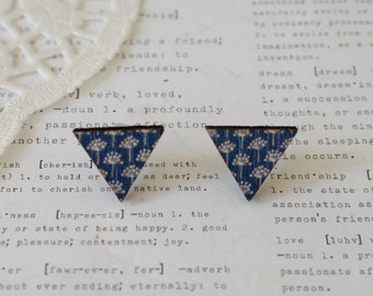 Wooden Triangle Navy with White Flower Stud Earrings