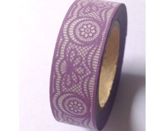 Washi Tape Intricate Purple Lace Washi Tape 11 yards 10 meters 15mm Detailed Purple Lace