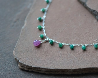 Pink Sapphire Necklace, Organic Emeralds, Delicate Serling Silver