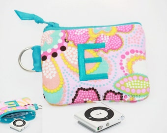 Personalized Bluetooth case/ Ipod shuffle bag/ coin bag/ small gadget bag/  Small zipper pouch/ earbud case