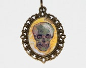 Skull Necklace, Van Gogh Jewelry, Skeleton, Fine Art, Bronze Oval Pendant