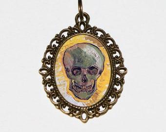 Van Gogh Skull Necklace, Skull Jewelry, Skeleton, Skulls, Fine Art, Oval Pendant