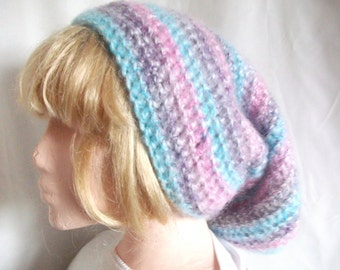 Extra long, Slouchy Beanie Hat, Hand Crocheted in Pink, Purple & Blue. Fashion Accessories. Winter Warmers