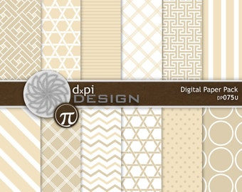 Cream and Tan Digital Papers and Printable Backgrounds - Digital Scrapbook Paper in neutral tan beige designs - Instant Download (DP075U)