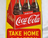 FINAL 50%OFF Vintage Coca-Cola Sign Metal Enamel Poster Restaurant Bar Signage Advertising Man Cave Accents Wall Décor