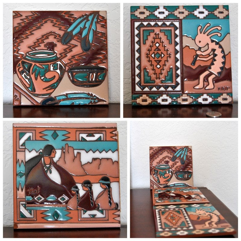 Graphic tiles ceramic navajo native american by for Artwork on tile ceramic mural