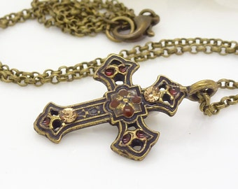 Small gothic cross necklace, dark red cross necklace, antique bronze, dark red gothic jewelry, gothic necklace