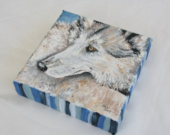 Original Acrylic Painting 6x6 Wolf Art, Timber Wolf Artwork, Mini Painting, Wildlife Painting, Wolf Lover Gift, Charity Donation, Nature Art