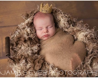 Newborn Baby Mini Gold Lace Crown, Newborn Photography Prop, Baby Crown, Gold Crown, Lace Crown, Baby Boy, Baby Girl