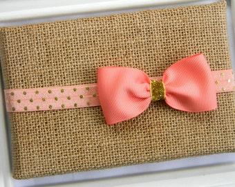 Coral Bow Headband, Infant Headband, Baby Headband, Bow Headband, Coral Headband