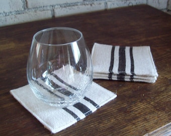 Striped Coaster Set of 4 - Choose Your Colors - Coasters - Drink Coasters - Rustic Coasters - Fabric Coasters - Beach Table Decor Coasters