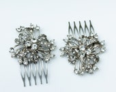 Pair of  Silver and Rhinestone Hair Combs- Bridal, Wedding, Prom