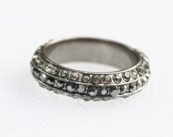 Vintage Silver Marcasite Rhinestone Band Ring