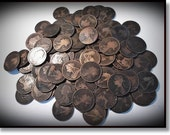 10 Antique Victorian Copper British Pennies, Ten Old Pennies, 100 Years + TV and Movie Props, Old Coins