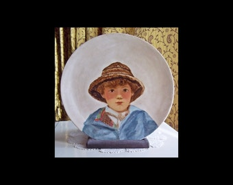 SALE -Vintage Limoge Plate, French Portrait Plate.1914 Limoges France,Cabinet Decorative Plate, Hand Painted, Sale Item: Was 80.00 Now 70.00