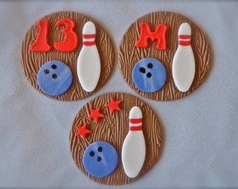 Bowling Ball and Pin Fondant Cupcake Topper Decorations can be personalized with Age or Initial