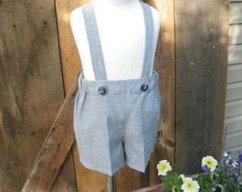 Boys gray shorts, boys suspender shorts, ring bearer shorts available to order 12m,18m 2t, 3t 4t, 5t