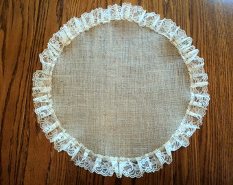Burlap and Lace Round Table Centerpiece Burlap Placemat Rustic Wedding Decorations