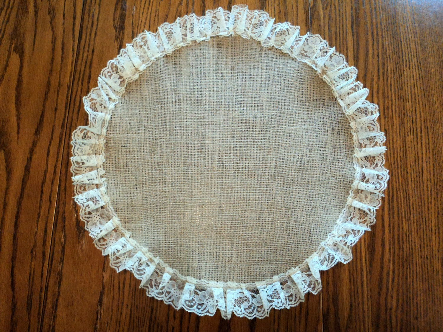 burlap and lace round table centerpiece burlap placemat rustic. Black Bedroom Furniture Sets. Home Design Ideas