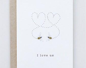 Valentine's Day card I Love Us Bees -  - Valentine's Handmade - Paper Goods - Love - Bees - Valentine