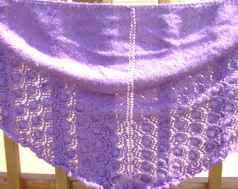 Amethyst purple triangular hand knit lace shawl with tiny sequins
