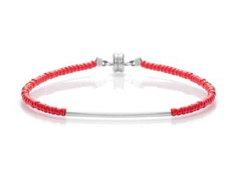 Delicate Brilliant Red & Thin Silver Bar Friendship Bracelet