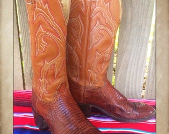 Tall Vintage Tan Reptile Stitched Cowgirl or Cowboy Western Boots size 6 1/2 B