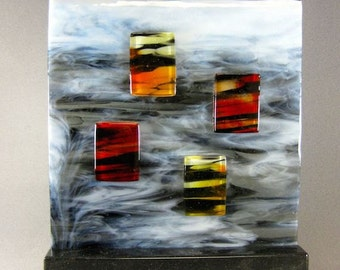 Art Glass Modern Contemporary Sculpture Windows In The Clouds Artist Signed