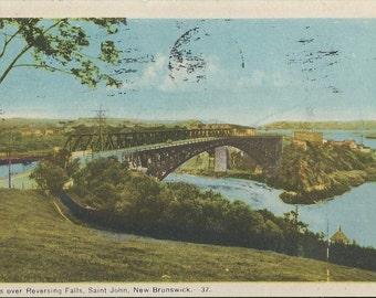 Bridges over Reversing Falls - Saint John, New Brunswick - 1948 Vintage Postcard