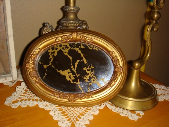 Vintage small mirror with floral applique and gold vein for Small gold mirror