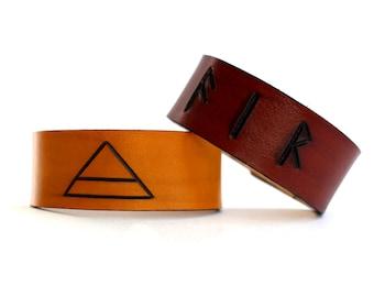 Air Classical element leather cuffs symbol runes