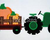 Pumpkin Tractor Fall Hayride Applique Design Machine Embroidery INSTANT DOWNLOAD
