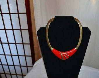 Vintage Red and Gold Enamel Necklace