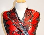 SALE-SAVE 25% Print Fabric, Floral Lace Design, Satin Finish, Red, Silver & Black Colors, Polyester, 2 5/8 Yards by 58 Inches Wide (4221)