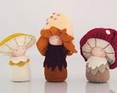 Mushroom children's dolls / Eco-Friendly natural wool felt / Waldorf