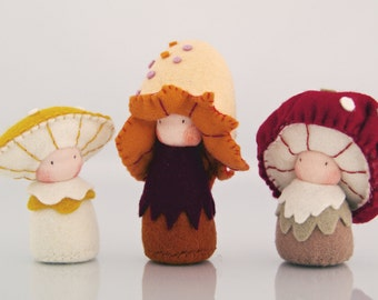 Mushroom children's dolls / Eco-Friendly natural wool felt / Waldorf