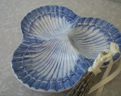 Majolica Style Divided Tray Dish in a Large Blue Scallop Shell Shape Made in Portugal Jay Willfred diu of Andrea Sadek