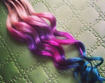 Handmade Ombre, Pastel Tie Dye Tips, Human Hair Extensions. Colored Hair Extension Clip, Hair Wefts, Clip in Hair, Dip Dyed Hair