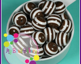 6 Pieces 20mm Brown Striped Resin Gumball Style Beads DIY Crafts For Chunky Necklaces And Bracelets